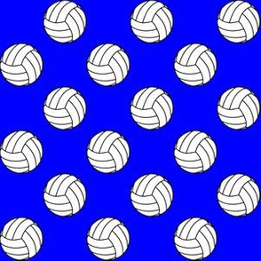 One Inch Black and White Volleyballs on Blue