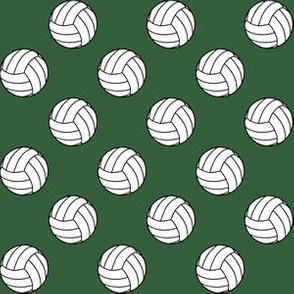 One Inch Black and White Volleyballs on Hunter Green