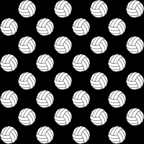 One Inch Black and White Volleyballs on Black fabric by mtothefifthpower on Spoonflower - custom fabric