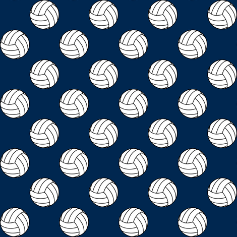 One Inch Black and White Volleyballs on Navy Blue fabric by mtothefifthpower on Spoonflower - custom fabric