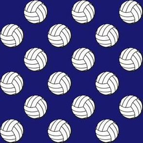 One Inch Black and White Volleyballs on Midnight Blue