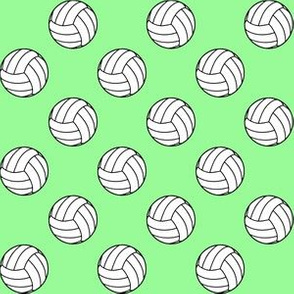 One Inch Black and White Volleyballs on Mint Green