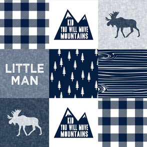 Little Man & You Will Move Mountains Quilt Top - Navy