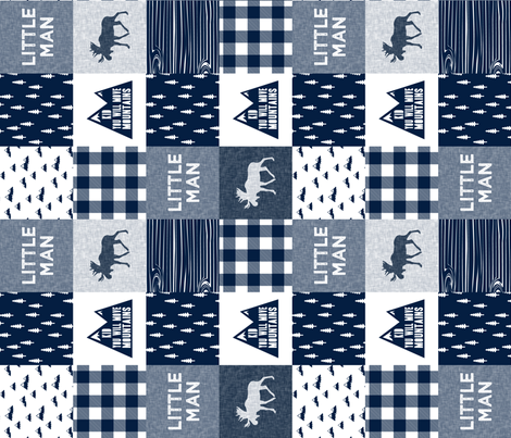 Little Man & You Will Move Mountains Quilt Top - Navy (90) fabric by littlearrowdesign on Spoonflower - custom fabric
