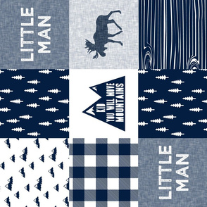 Little Man & You Will Move Mountains Quilt Top - Navy (90)