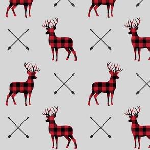 bucks and arrows - buffalo plaid (fog)