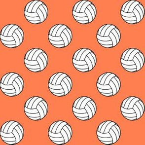 One Inch Black and White Volleyballs on Coral