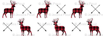 (small scale) bucks and antlers - buffalo plaid