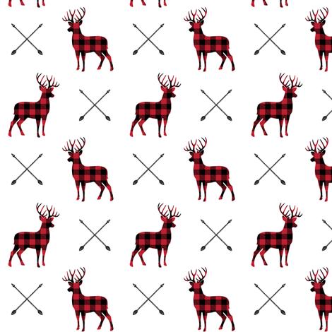 (small scale) bucks and antlers - buffalo plaid fabric by littlearrowdesign on Spoonflower - custom fabric