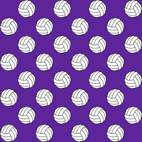 One Inch Black and White Volleyballs on Purple fabric by mtothefifthpower on Spoonflower - custom fabric