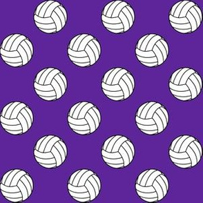 One Inch Black and White Volleyballs on Purple