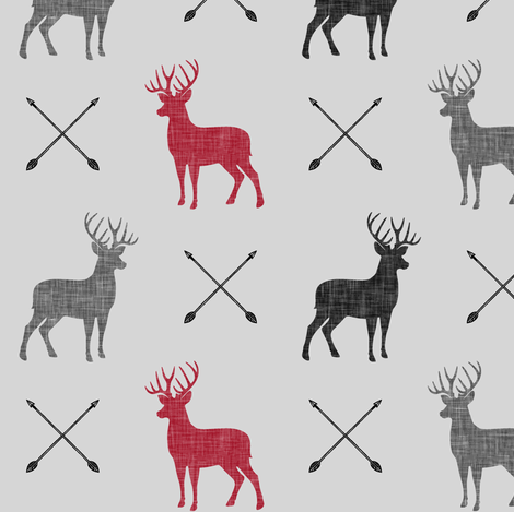 multi buck and arrows (fog)    the happy camper collection fabric by littlearrowdesign on Spoonflower - custom fabric