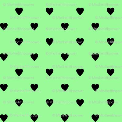 Black Hearts on Mint Green