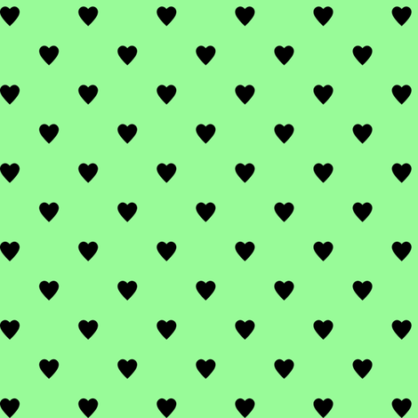 Black Hearts on Mint Green fabric by mtothefifthpower on Spoonflower - custom fabric