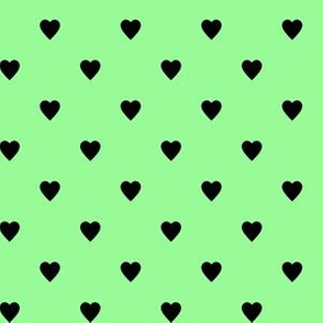 Black Hearts on Mint Green