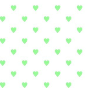 Mint Green Hearts on White