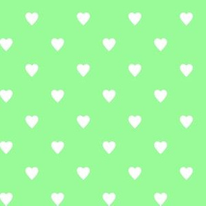 White Hearts on Mint Green