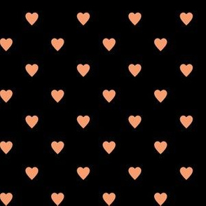Peach Hearts on Black