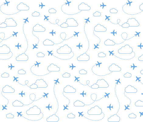Jets in Clouds - Blue on White fabric by cavutoodesigns on Spoonflower - custom fabric