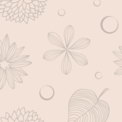 Creamy Flowers And Leaves Line Art