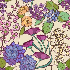 Mosaic Garden - Cream