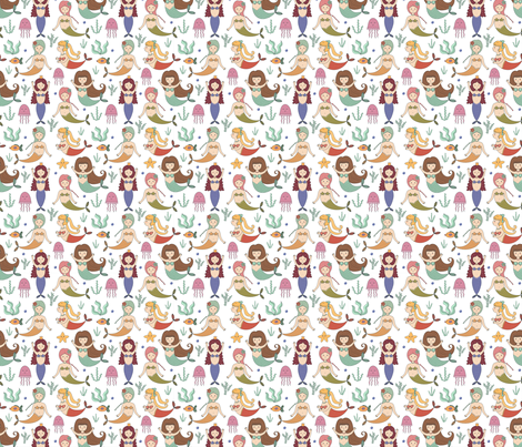 For the Love of Mermaids 2 fabric by sovendebjorn on Spoonflower - custom fabric