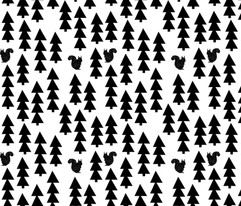 squirrels fabric // black and white woodland squirrel design  triangle trees by andrea lauren fabric by andrea_lauren on Spoonflower - custom fabric