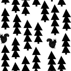 squirrels fabric // black and white woodland squirrel design  triangle trees by andrea lauren