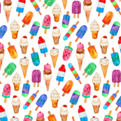 Tiny Watercolor Summer Ice Creams on White