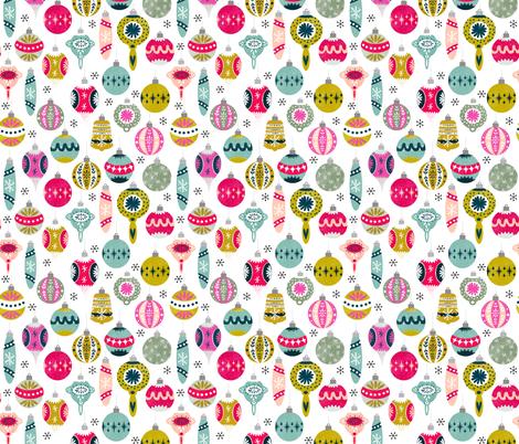 vintage christmas ornaments fabric // vintage retro xmas holiday design andrea lauren fabric fabric by andrea_lauren on Spoonflower - custom fabric