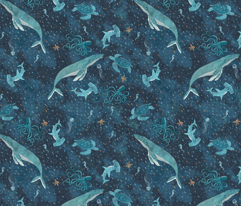 Deep blue sea with whales, octopus & seaturtles fabric by rebecca_reck_art on Spoonflower - custom fabric