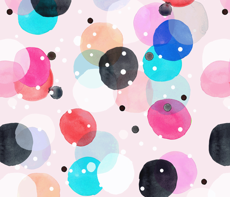 Party Dots Blush Big fabric by crystal_walen on Spoonflower - custom fabric
