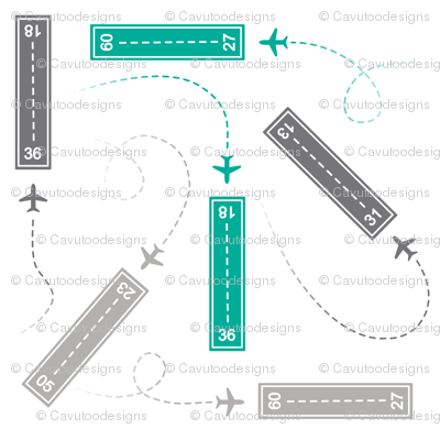 Jets - Runways Teal & Gray on White