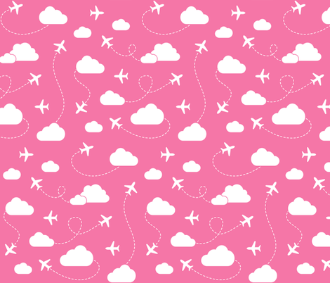 Jets in Clouds - White on Pink fabric by cavutoodesigns on Spoonflower - custom fabric