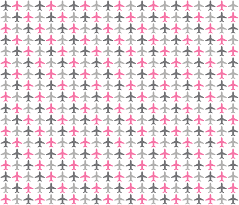 Jets Jets Jets - Pink / Gray / White fabric by cavutoodesigns on Spoonflower - custom fabric