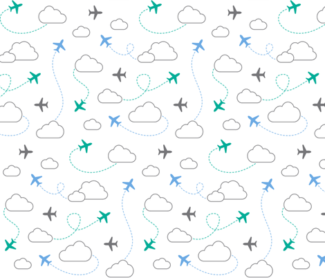 Jets in Clouds - Gray / Teal / Blue on White fabric by cavutoodesigns on Spoonflower - custom fabric