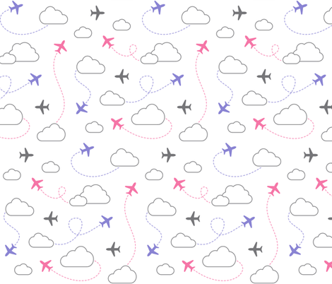 Jets in Clouds - Gray / Purple / Pink on White fabric by cavutoodesigns on Spoonflower - custom fabric
