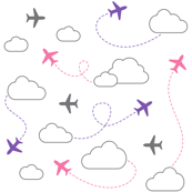 Jets in Clouds - Gray / Purple / Pink on White