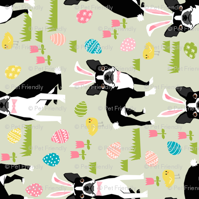 boston terrier easter fabric cute easter dog design