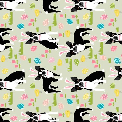 boston terrier easter fabric cute easter dog design fabric by petfriendly on Spoonflower - custom fabric
