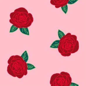 roses // pink and red rose fabric  florals flower design andrea lauren fabric
