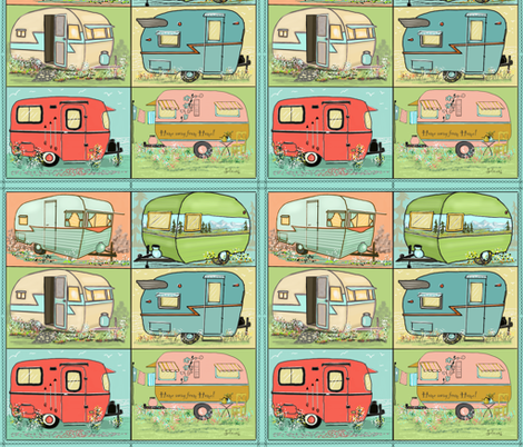 Quilting camping with camper squares by Salzanos fabric by salzanos on Spoonflower - custom fabric