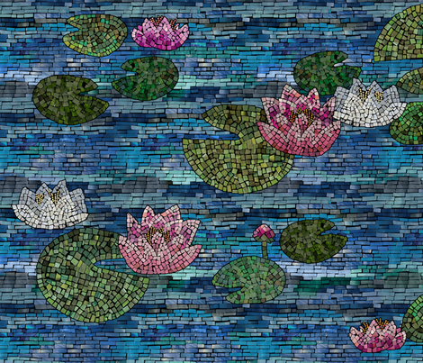 WaterliliesMosaic fabric by beckarahn on Spoonflower - custom fabric