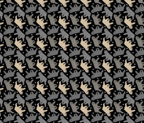 Trotting Bouvier des Flandres and paw prints B - tiny black fabric by rusticcorgi on Spoonflower - custom fabric