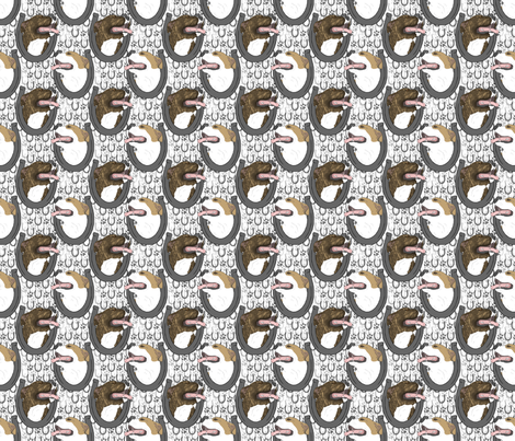 American Pit Bull Terrier horseshoe portraits B - small fabric by rusticcorgi on Spoonflower - custom fabric