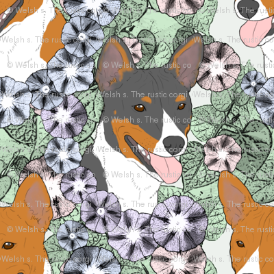 Floral Basenji portraits - small