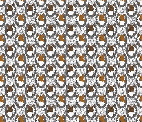 Miniature colored Bull Terrier horseshoe portraits - small fabric by rusticcorgi on Spoonflower - custom fabric