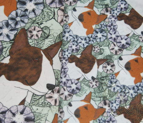 Floral Miniature colored Bull Terrier portraits - small