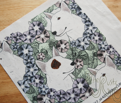 Floral Miniature white Bull Terrier portraits
