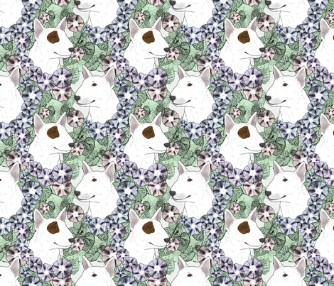 Floral Miniature white Bull Terrier portraits fabric by rusticcorgi on Spoonflower - custom fabric
